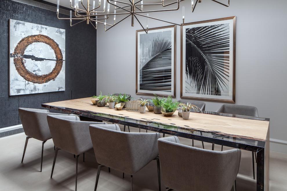Idee per una sala da pranzo minimal con pareti nere, nessun camino e pavimento beige