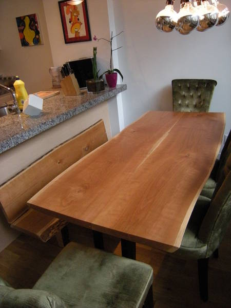 Salvaged Wood Slab Harvest Table Dining