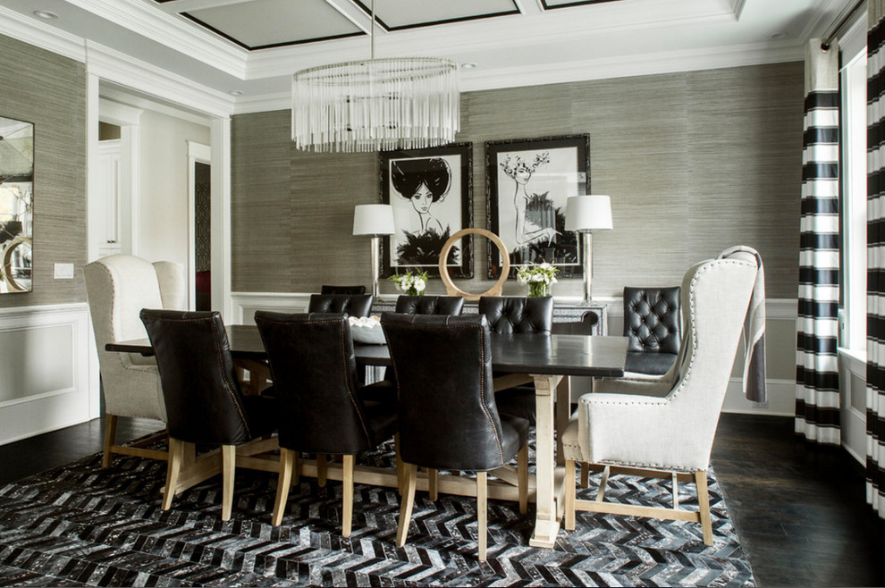 Chevron Cowhide Rug in a Black & White Dining Room