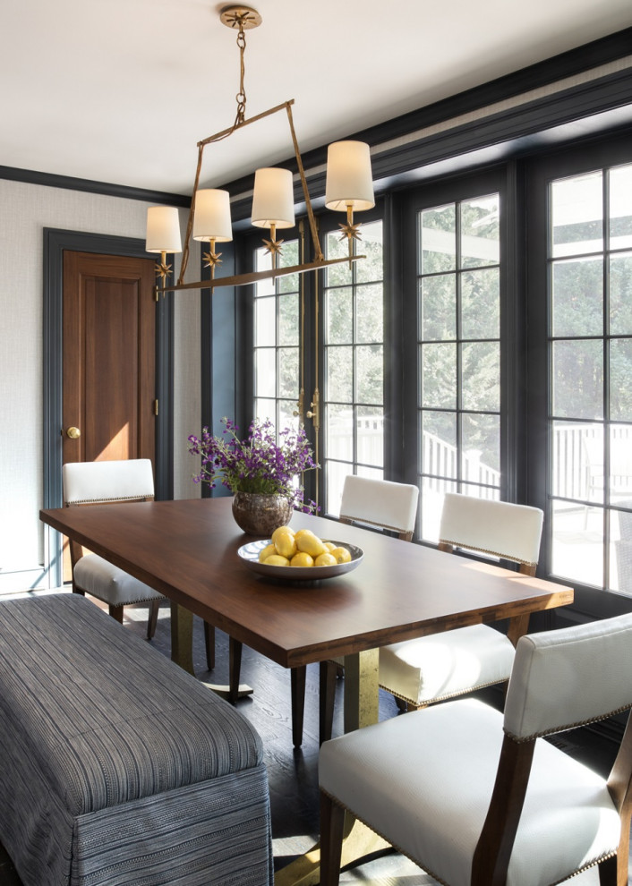 Mid-sized transitional dark wood floor and brown floor enclosed dining room photo in DC Metro