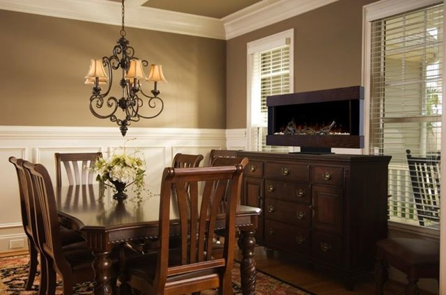 Chic dining rooms traditional dining room other for Traditional dining room fireplace