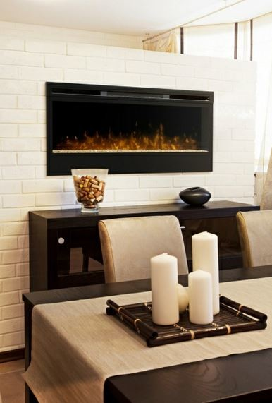 Stone Wall Dining Room Electric Fireplace