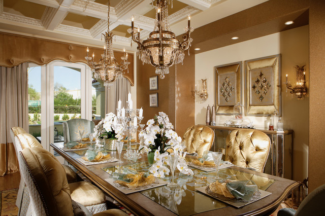 Chic Luxury Traditional Dining Room Other Metro By