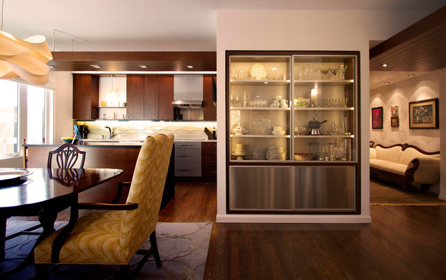 modern dining room cabinets | China Cabinet defines open space - Contemporary - Dining ...