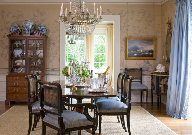 Chinoiserie Hand Painted Wallpaper - Traditional - Dining ...