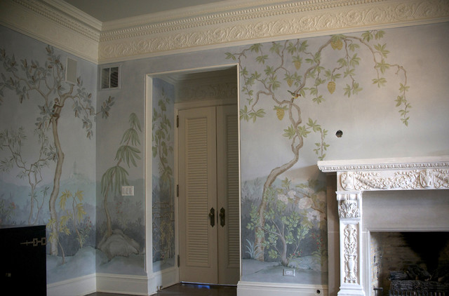 Chinoiserie landscape mural traditional dining room for Dining room mural