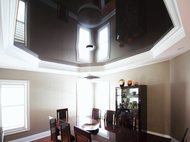 Chocolate High Gloss Stretch Ceiling Midcentury Dining Room