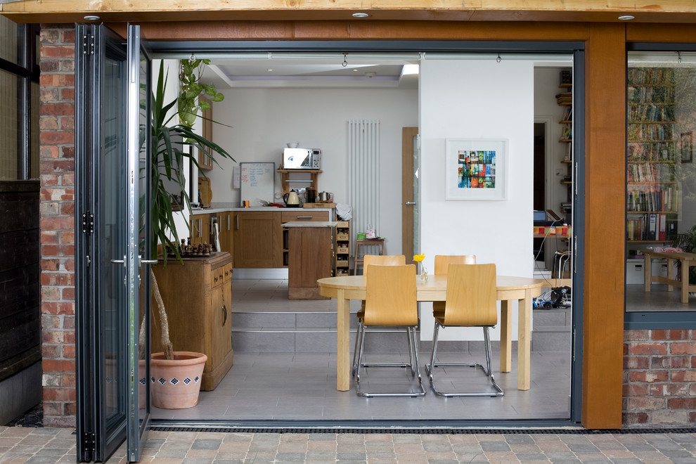 Inspiration for a contemporary dining room remodel in Manchester