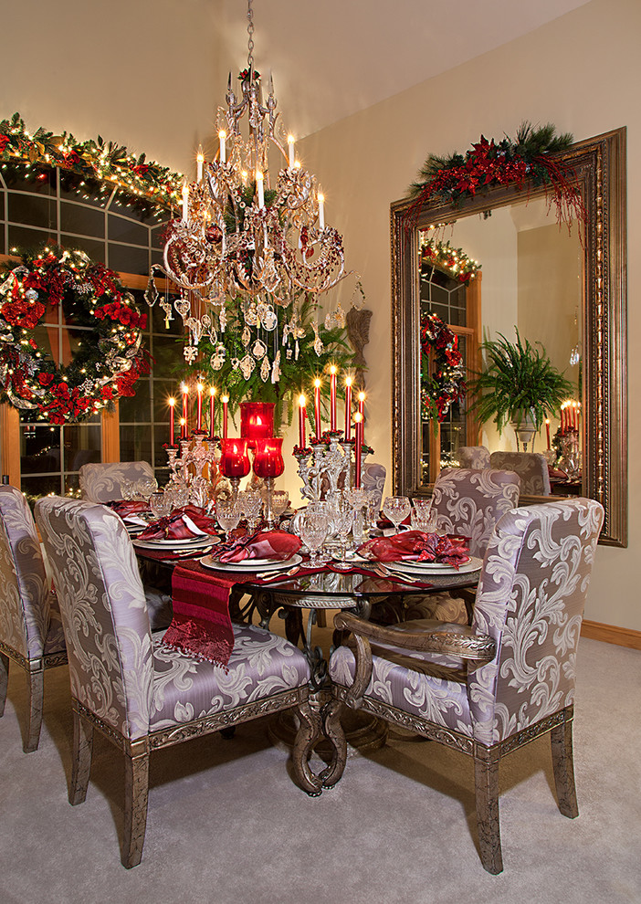 Inspiration for a mid-sized mediterranean carpeted enclosed dining room remodel in Chicago with beige walls and no fireplace