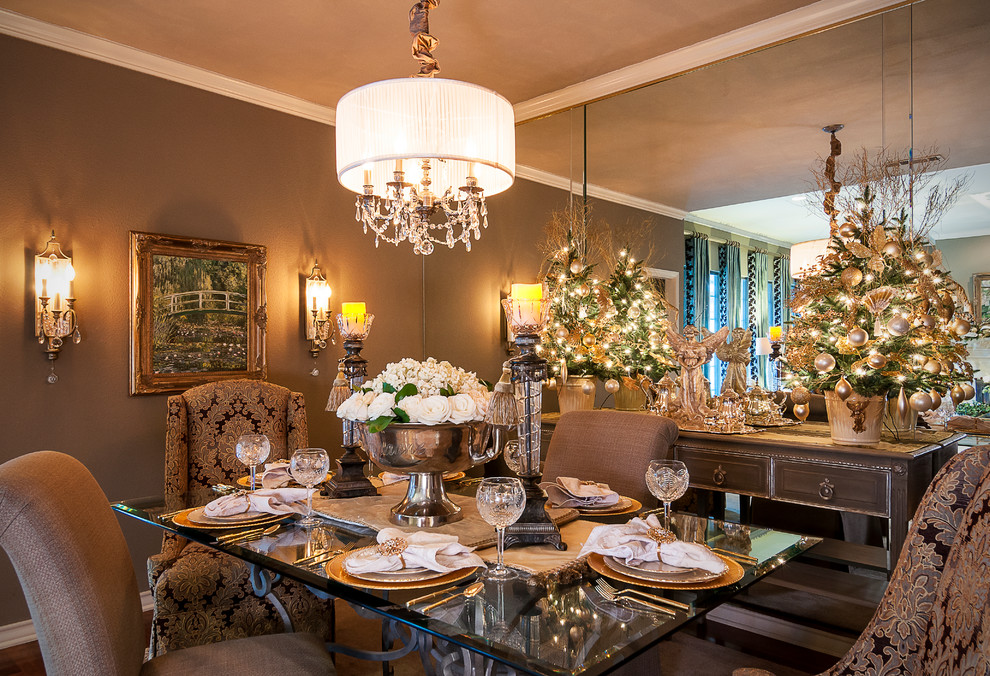 Inspiration for a timeless dining room remodel in Dallas with brown walls