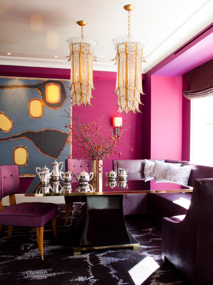 Dining room - contemporary carpeted dining room idea in New York with pink walls