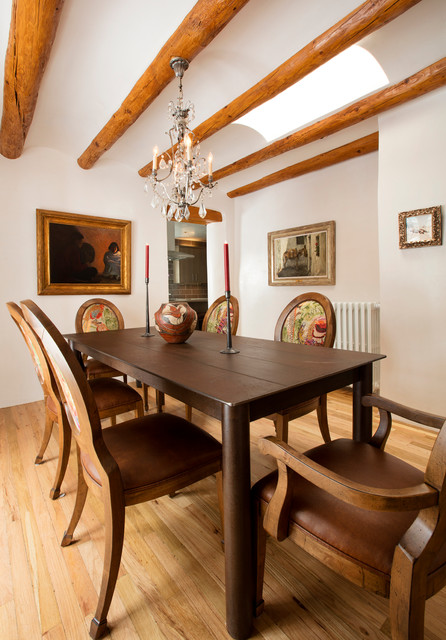 Enclosed Dining Room Mid Sized Southwestern Light Wood Floor Idea In