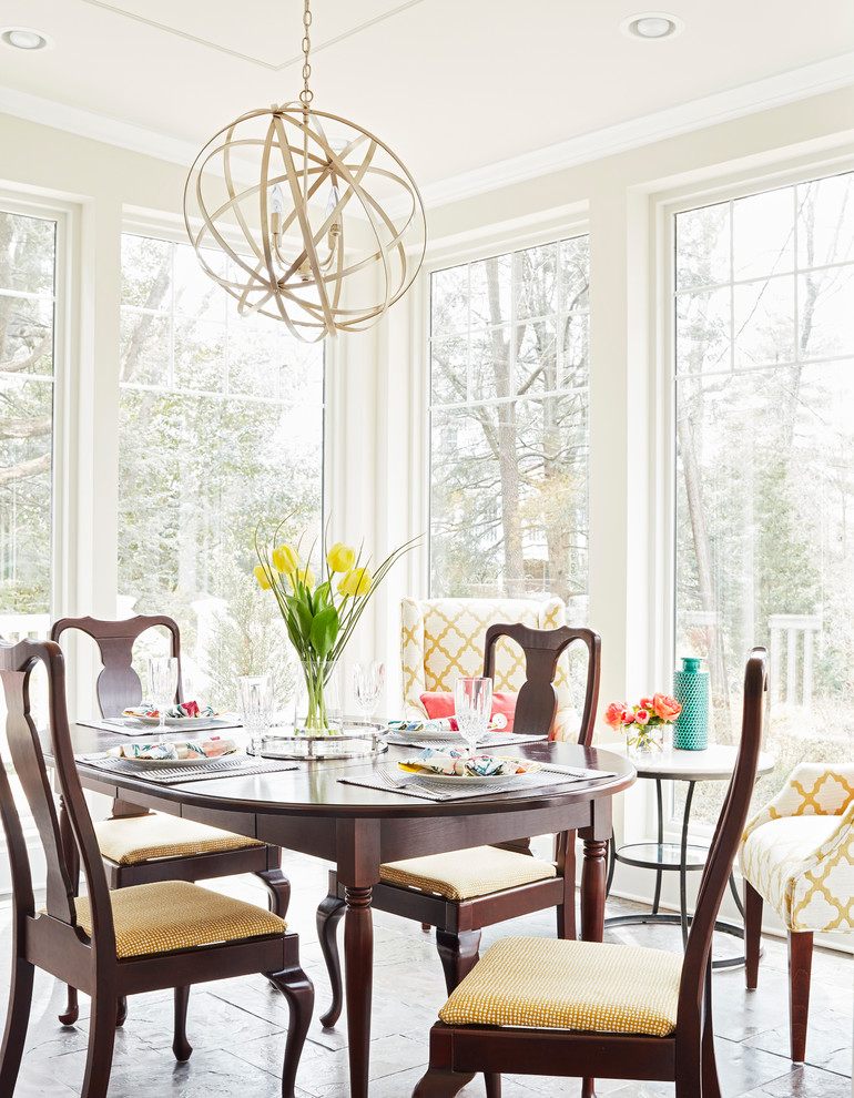 Dining room - mid-sized transitional slate floor and gray floor dining room idea in Richmond with no fireplace and beige walls