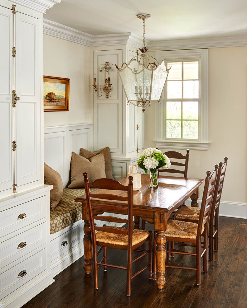 Example of a classic dark wood floor kitchen/dining room combo design in Charlotte