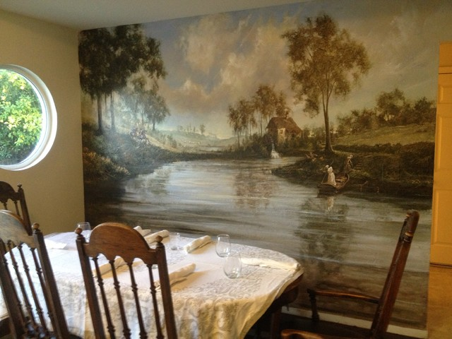 Classic murals traditional dining room san francisco for Classical mural