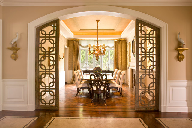 arch design for living room. Classic Traditional Residence traditional dining room  Dining Room Orange