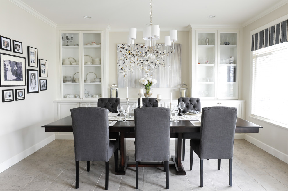 Kitchen/dining room combo - mid-sized transitional porcelain tile kitchen/dining room combo idea in Vancouver with beige walls