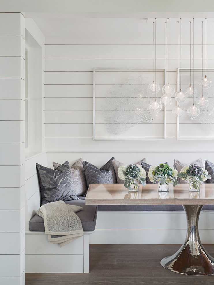 Dining room - contemporary dining room idea in Boston with white walls