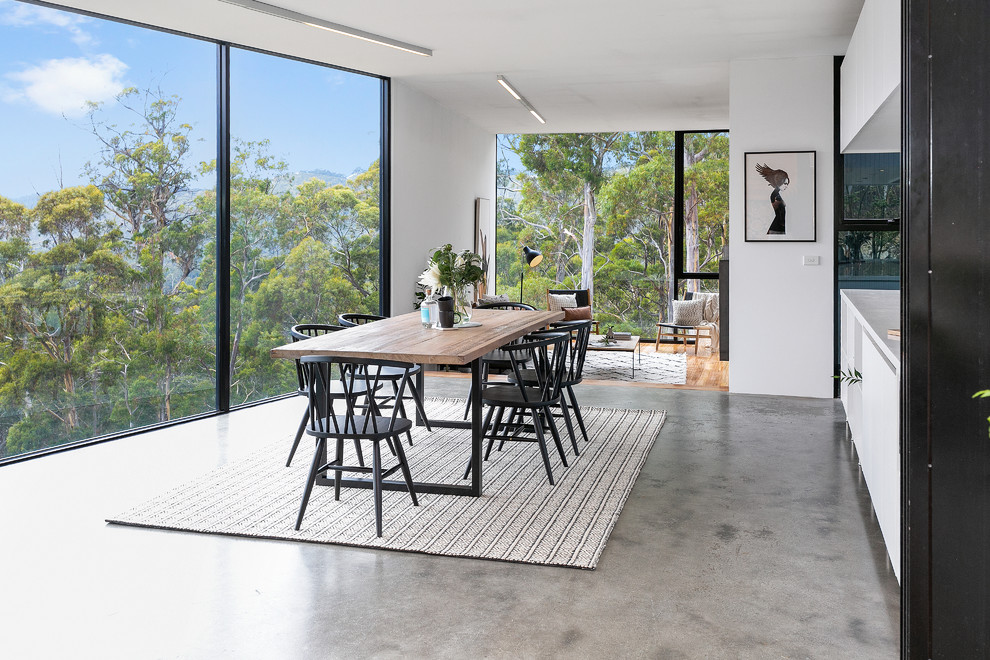 Large trendy concrete floor and gray floor great room photo in Hobart with white walls