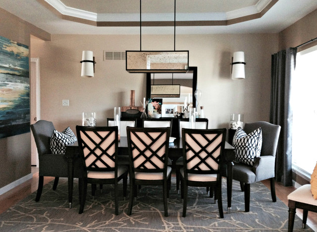 Coastal glam dining room transitional dining room st for Glam dining room ideas