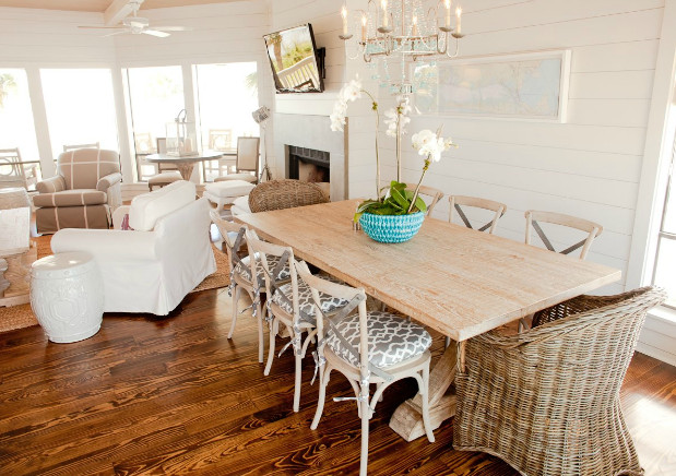 Modern interior coastal inspired dining table for Modern beach house furniture