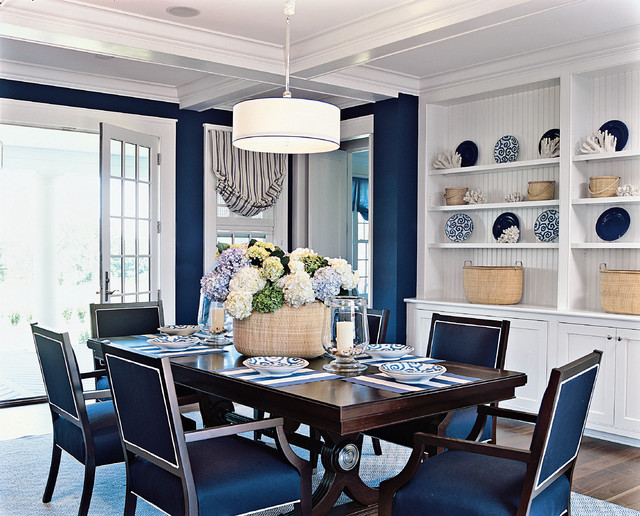 Example Of A Coastal Dining Room Design In Boston
