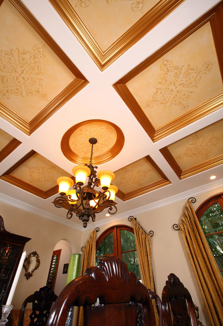Coffered ceiling art traditional dining room for Traditional dining room wall art