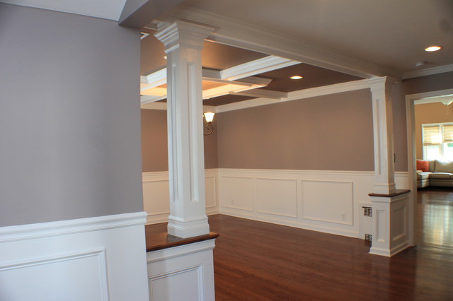 Coffered Ceiling, Wainscott, Moulding, Dining Room Traditional Dining Room