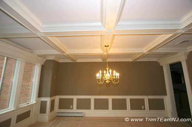 Coffered ceilings and beams traditional dining room for Dining room trim ideas