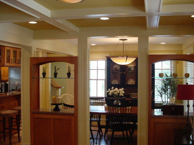 coffering open cabinets and period lighting detail the