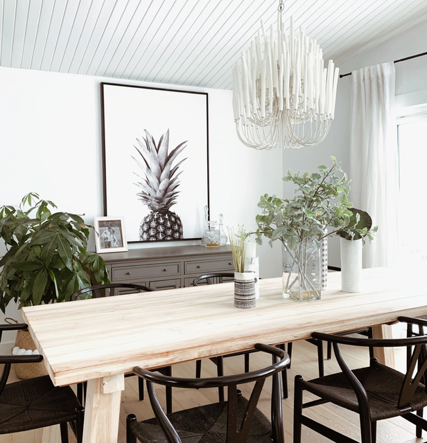 Transitional light wood floor and brown floor dining room photo in Vancouver with white walls and no fireplace