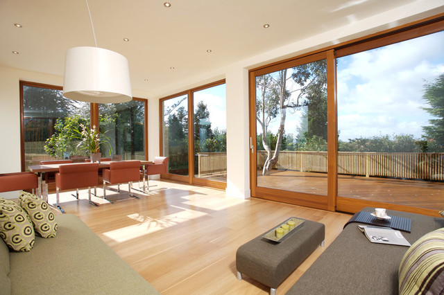 Collection of four contemporary Iroko timber clad modern family homes contemporary-dining-room