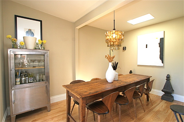 modern dining room hutch. Trendy medium tone wood floor dining room photo in San Francisco with beige  walls Modern Hutch Houzz
