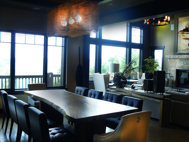 Example of a mountain style dining room design in Miami