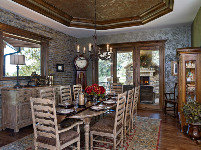 Colorado Mountain Territorial Style - Rustic - Dining Room ...
