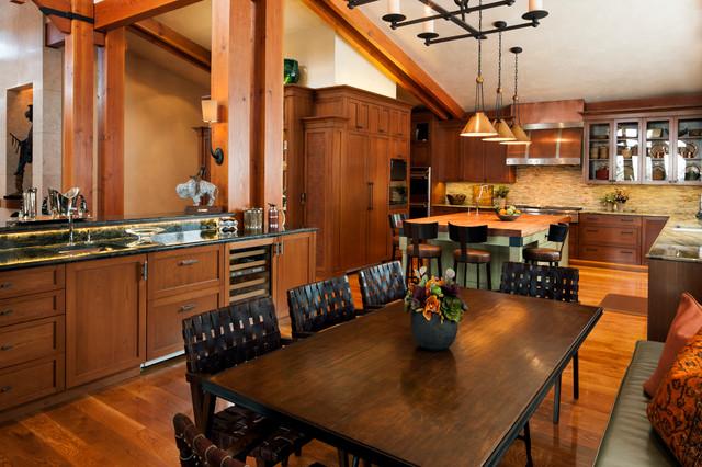Colorado Ski House transitional-dining-room