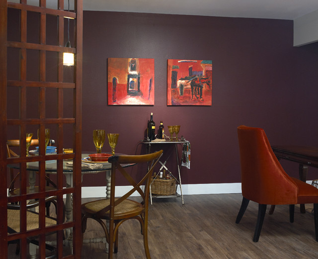 Repertory theatre community service project eclectic for Aubergine living room ideas