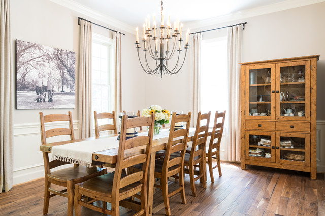 Complete Kitchen Renovation Dining Room With New Entry Way And Powder Room Farmhouse Dining Room Raleigh By Brian H Murray Interior Design