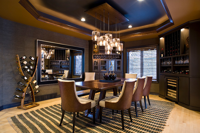 Large trendy light wood floor enclosed dining room photo in Other with gray walls and no fireplace