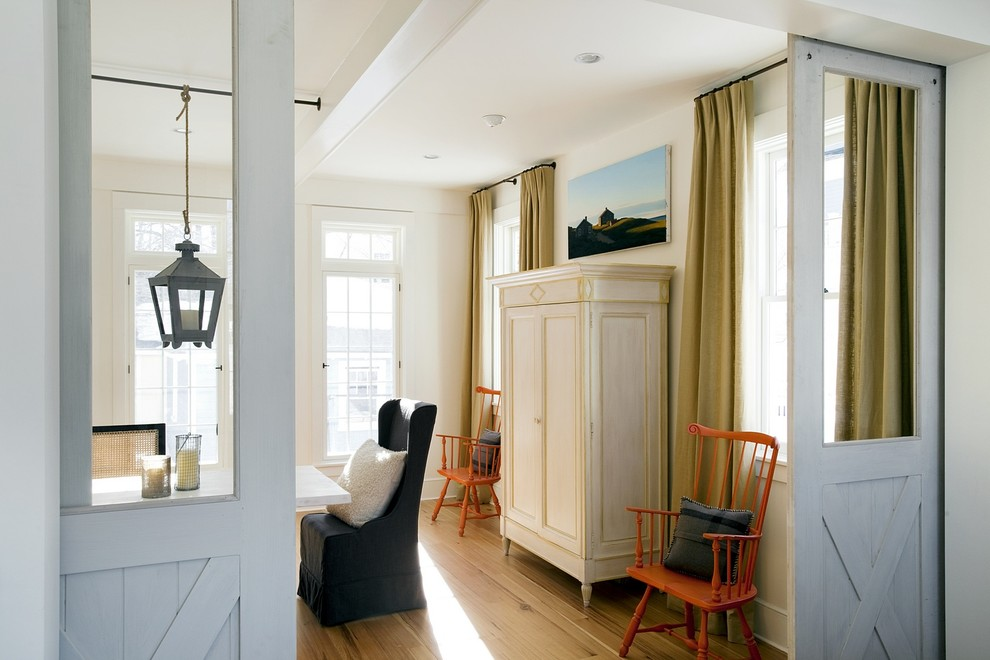 Inspiration for a beach style dining room remodel in Boston