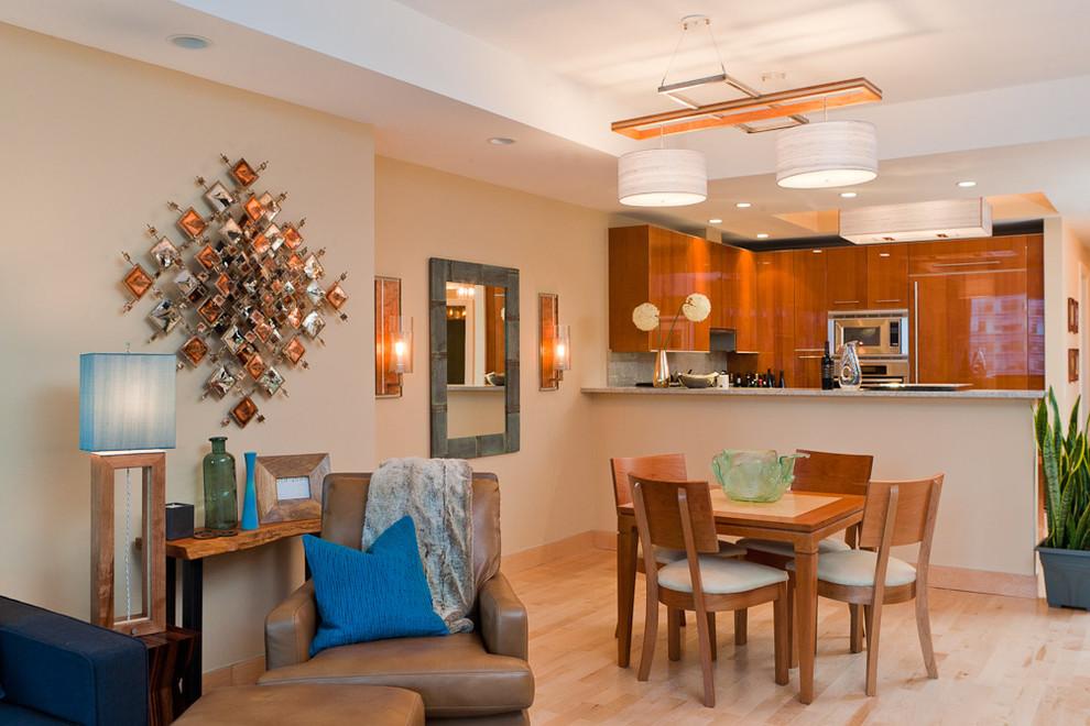 Dining room - contemporary dining room idea in Portland Maine