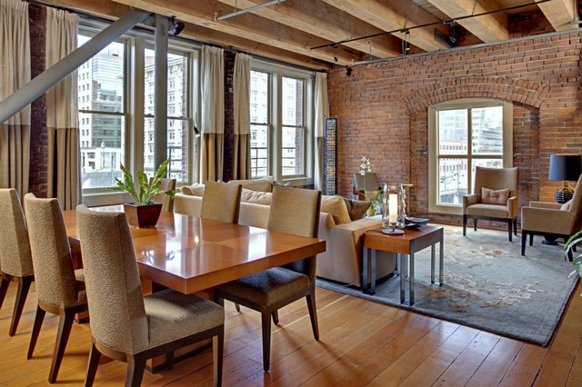 Condo In A Historical Building Industrial Dining Room