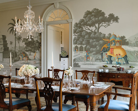 India style design ideas with wall paintings in the dining room