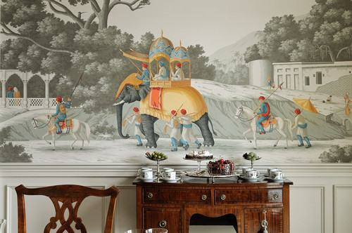 Scenic wallcovering in dining room design by Crisp Architects