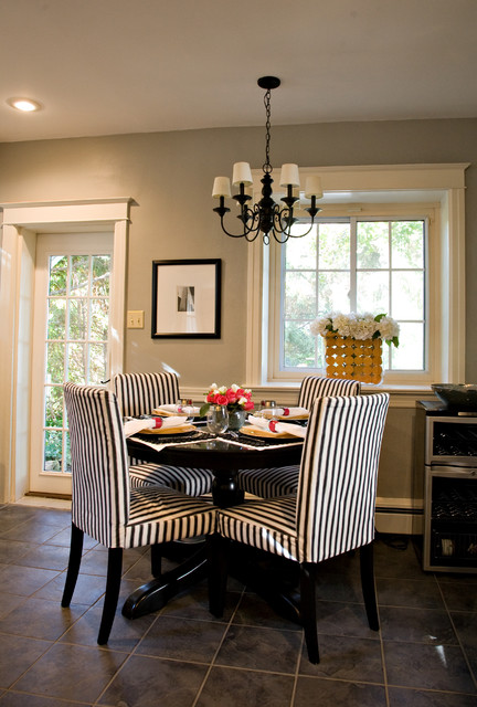 ... Black and White Kitchen with Red Accents contemporary-dining-room