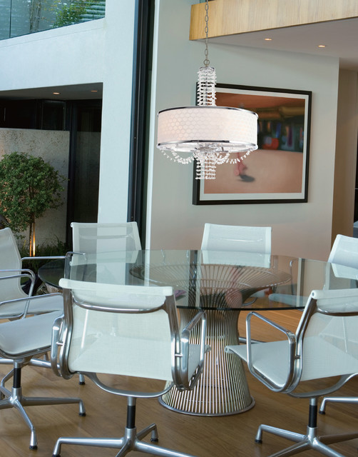 Contemporary Crystal Chandelier With White Drum Silk Shade