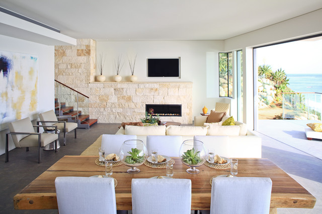 Dining Table Design Ideas elegant classic round dining room table decorating ideas decorate your round dining room tables Example Of A Trendy Great Room Design In Orange County With A Stone Fireplace Surround