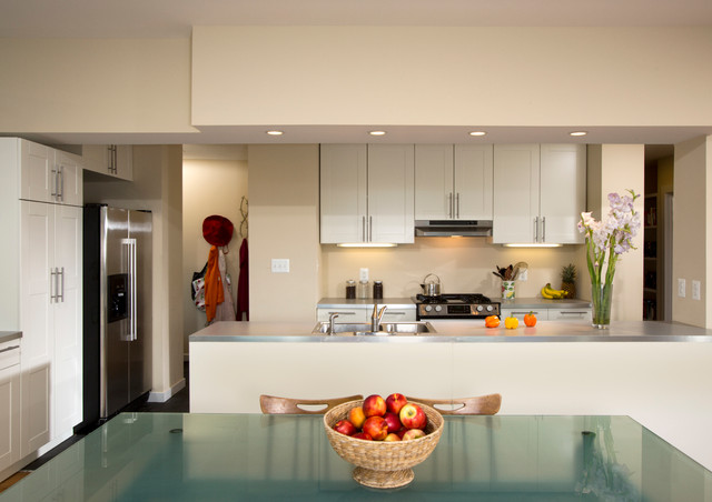 Contemporary dining room and galley kitchen contemporary for Galley kitchen with dining area