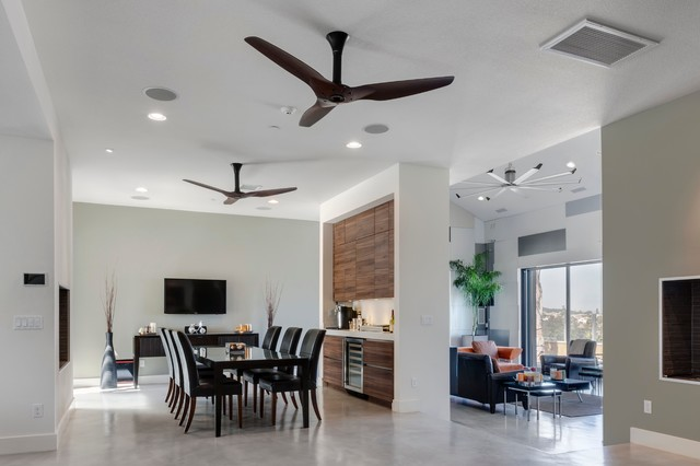 Contemporary Dining Room, Dining Room Ceiling Fan