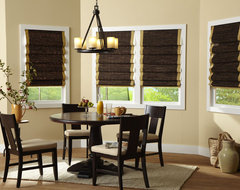 Laura Ashley Natural Woven Wood Shades From Blinds.com contemporary-dining-room
